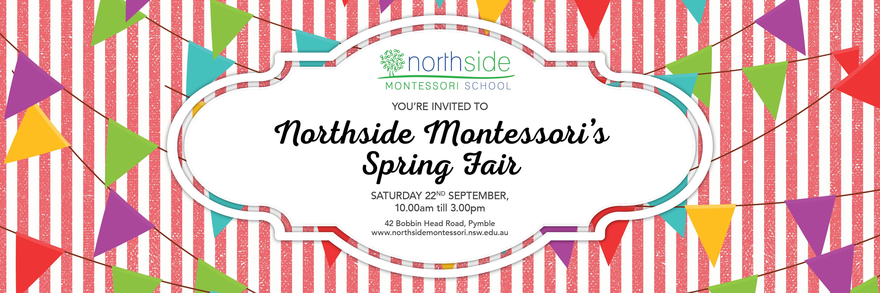 Northside Montessori 40th Anniversary Spring Fair Banner